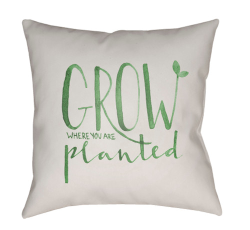 "20"" White and Green ""Grow Where You Are Planted"" Digitally Printed Square Throw Pillow Cover - IMAGE 1"
