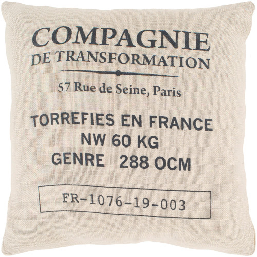 """18"""" Ivory and Black """"Compagnie"""" Themed Woven Square Throw Pillow Cover with Knife Edge - IMAGE 1"""