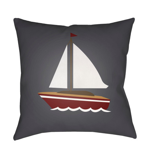 """20"""" Gray and White Boat Printed Square Throw Pillow Cover - IMAGE 1"""