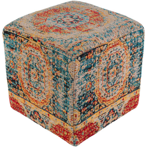 """18"""" Blue and Red Distressed Finish Cubic Pouf Ottoman - IMAGE 1"""