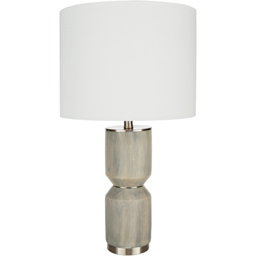 """27"""" Distressed Finish Solid Gray Table Lamp with White Drum Shade - IMAGE 1"""