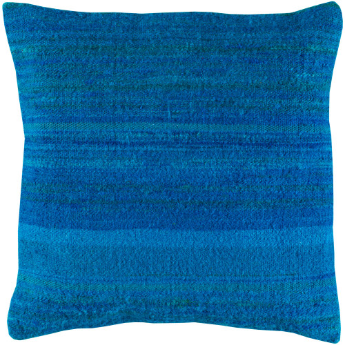 """18"""" Blue Solid Woven Throw Pillow with Knife Edge - Poly Filled - IMAGE 1"""