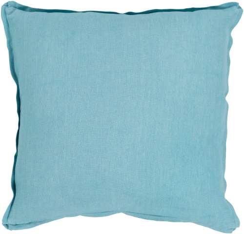 "20"" Aqua Blue Solid Square Throw Pillow with Flange - Down Filler - IMAGE 1"