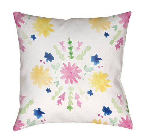 """20"""" White and Pink Floral Printed Throw Pillow Cover with Knife Edge - IMAGE 1"""