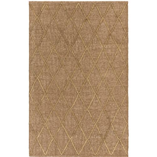 4' x 6' Diamond Patterned Brown and Cream Rectangular Area Throw Rug - IMAGE 1