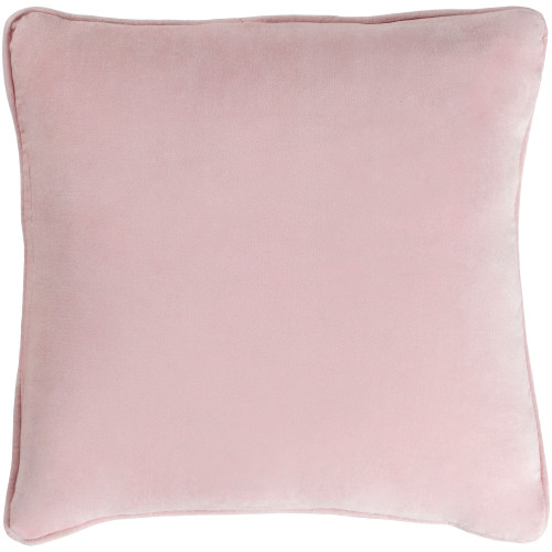 """18"""" Pink Solid Square Throw Pillow Cover with Piping - IMAGE 1"""