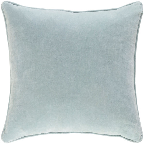 """18"""" Sea Blue Solid Square Throw Pillow Cover with Piping - IMAGE 1"""