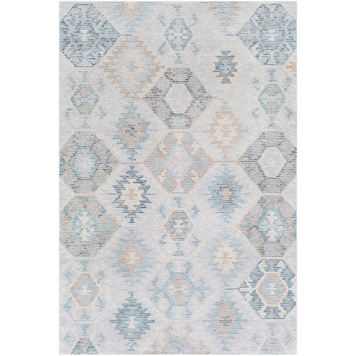 8' x 10' Ikat Pattern Blue and Brown Rectangular Hand Tufted Wool Area Throw Rug - IMAGE 1