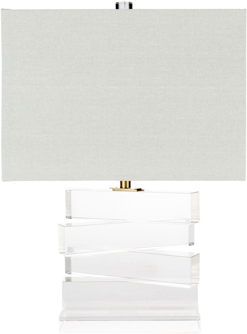 """23.5"""" Contemporary Style Crystal Body Table Lamp with White Drum Shade - IMAGE 1"""