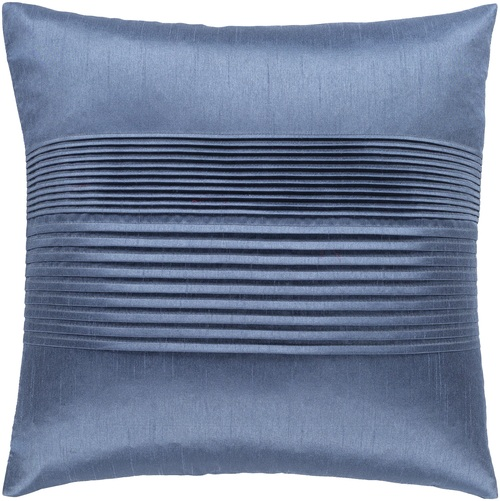 """18"""" Blue Solid Pleated Square Throw Pillow - Down Filler - IMAGE 1"""
