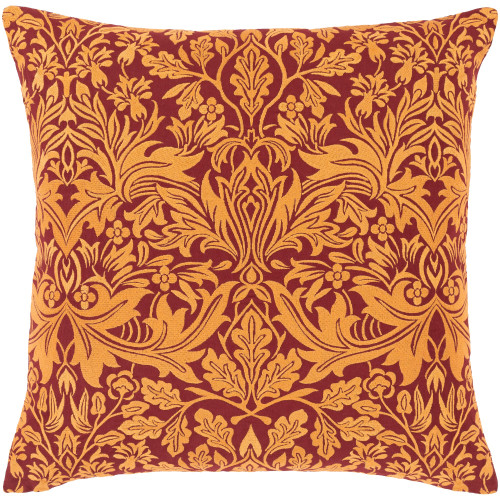 """22"""" Gold Yellow and Brown Floral Embroidered Square Throw Pillow - Poly Filled - IMAGE 1"""