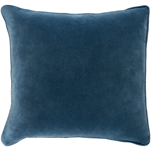 """18"""" Prussian Blue Solid Square Throw Pillow Cover with Piping - IMAGE 1"""