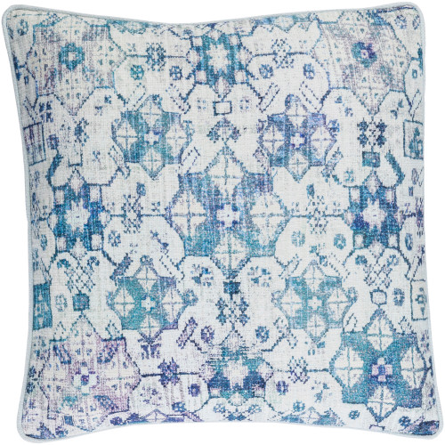 "22"" Blue and White Traditional Floral Motif Square Throw Pillow Cover - IMAGE 1"