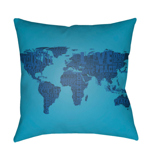 "22"" Teal Blue World Map Printed Square Throw Pillow Cover - IMAGE 1"