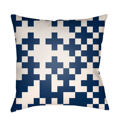 "20"" Navy Blue and White Cross Printed Square Throw Pillow Cover - IMAGE 1"
