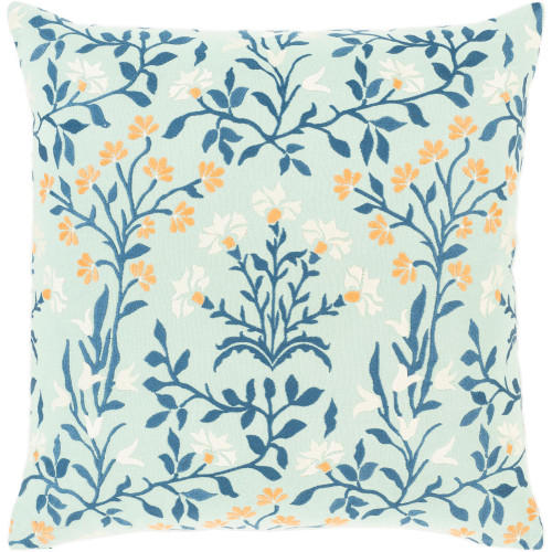 """22"""" Mint Green and White Floral Embroidered Square Throw Pillow - Poly Filled - IMAGE 1"""