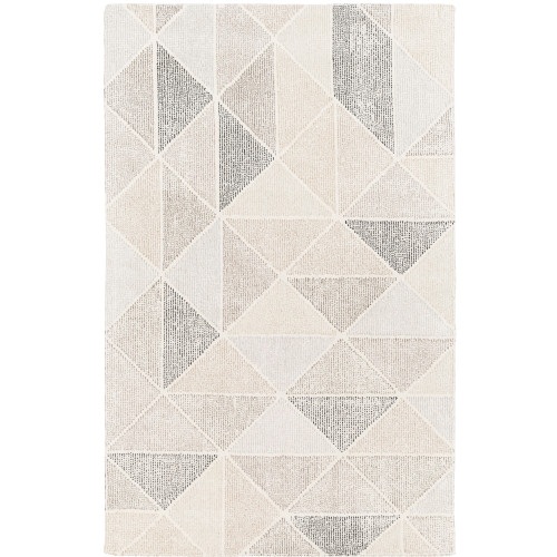 6' x 9' Harmonic Triangle Pattern Gray and Brown Rectangular Hand Tufted Wool Area Throw Rug - IMAGE 1