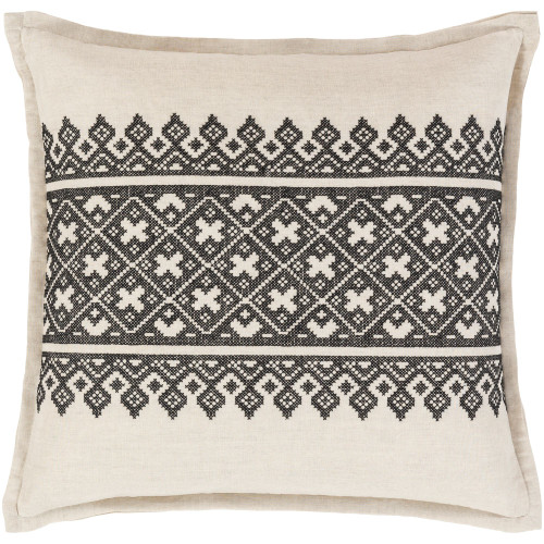 """20"""" Black and Ivory Aztec Patterned Square Throw Pillow Cover - IMAGE 1"""