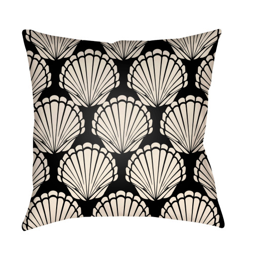 """22"""" Black and Beige Seashell Printed Square Throw Pillow Cover - IMAGE 1"""