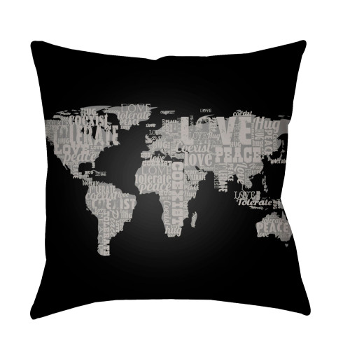 """22"""" Black and Gray World Map Printed Square Throw Pillow Cover - IMAGE 1"""