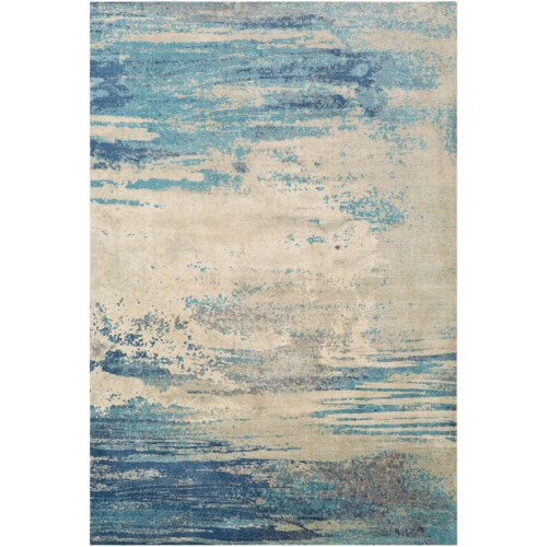 8' x 10' Abstract Patterned Cream and Blue Rectangular Area Throw Rug - IMAGE 1