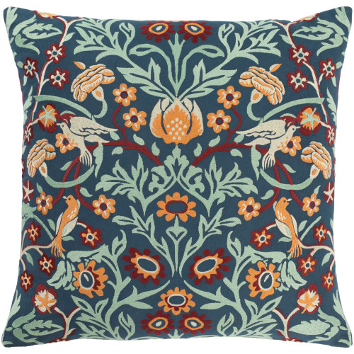 """22"""" Teal Blue and Brown Embroidered Square Throw Pillow - Poly Filled - IMAGE 1"""