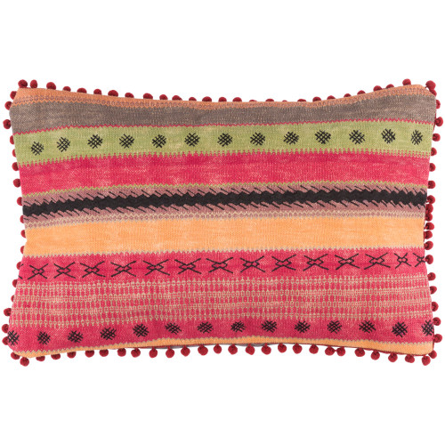"22"" Orange and Red Embroidered Rectangular Throw Pillow Cover - IMAGE 1"