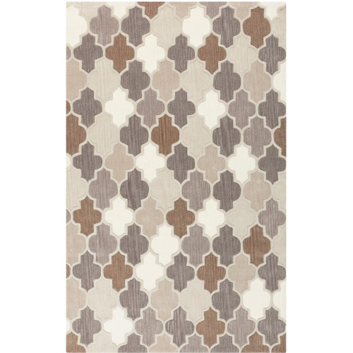 6' x 9' Gradient Crux Gray and White Rectangular Hand Tufted Wool Area Throw Rug - IMAGE 1