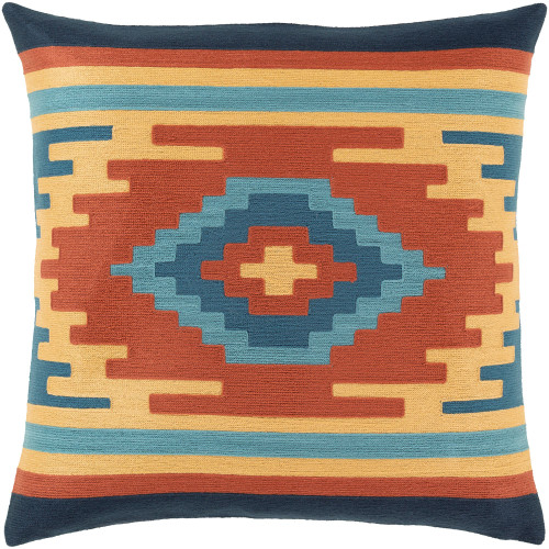 """18"""" Blue and Beige Geometric Square Throw Pillow Cover with Knife Edge - IMAGE 1"""