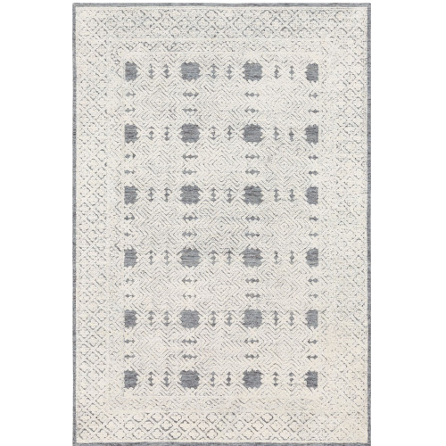 6' x 9' Gray and Beige Geometric Patterned Rectangular Hand Tufted Area Rug - IMAGE 1
