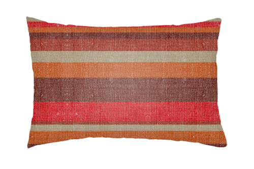 """24"""" Red and Brown Striped Rectangular Throw Pillow Cover with Knife Edge - IMAGE 1"""