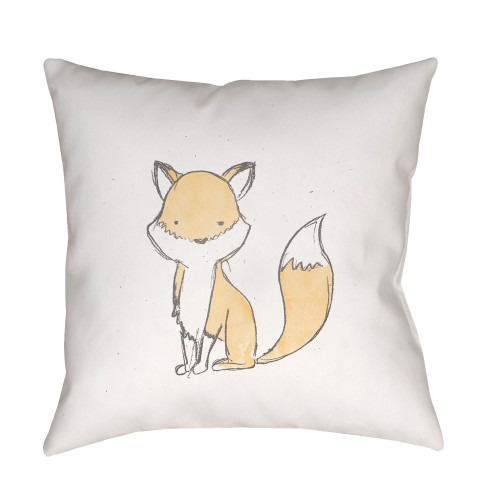 """20"""" White and Brown Fox Printed Square Throw Pillow Cover - IMAGE 1"""