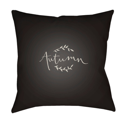 """20"""" Charcoal Black and White Autumn Printed Square Throw Pillow Cover - IMAGE 1"""