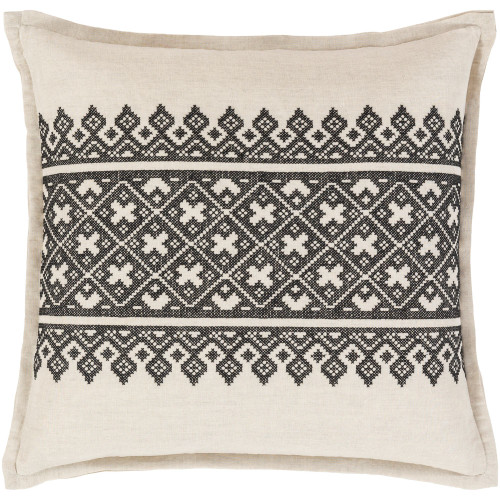 """18"""" Black and Beige Traditional Woven Decorative Throw Pillow Cover - IMAGE 1"""