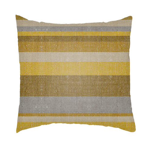 """24"""" Mustard Yellow and Gray Striped Rectangular Throw Pillow Cover - IMAGE 1"""