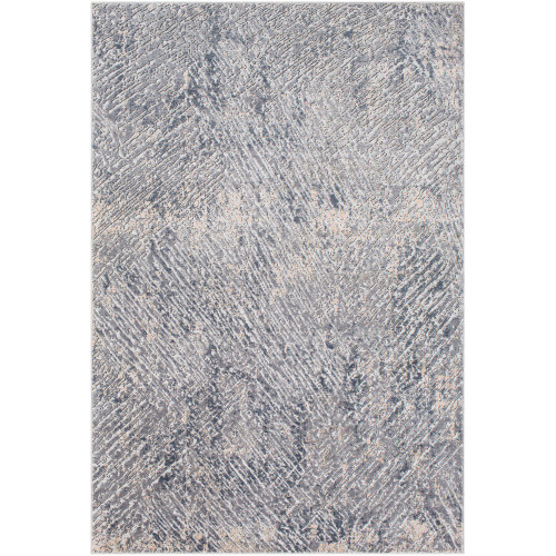 "6'7"" x 9'6"" Gray and Ivory Distressed Abstract Design Rectangular Machine Woven Area Rug - IMAGE 1"