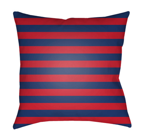 """20"""" Red and Blue Striped Square Throw Pillow Cover with Knife Edge - IMAGE 1"""