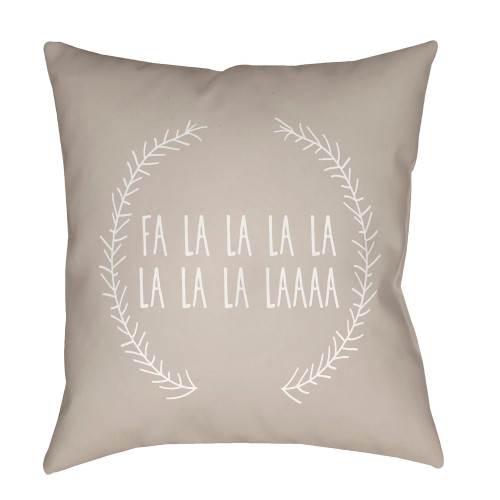 """20"""" Beige and White Falalalala Printed Square Throw Pillow Cover - IMAGE 1"""