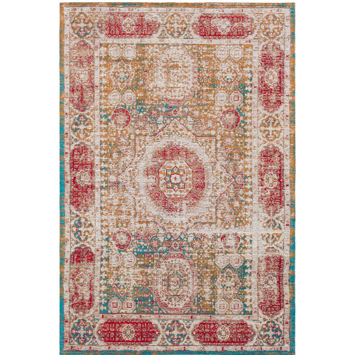 8' x 10' Distressed Yellow and Red Rectangular Hand Woven Chenille-Polyester Area Throw Rug - IMAGE 1