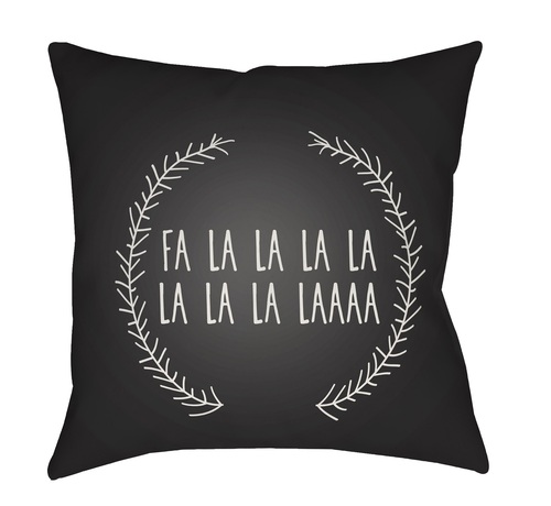 """20"""" Black and White Falalalala Printed Square Throw Pillow Cover with Knife Edge - IMAGE 1"""