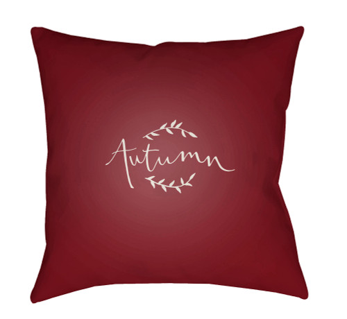 """20"""" Wine Red and White Autumn Printed Square Throw Pillow Cover - IMAGE 1"""