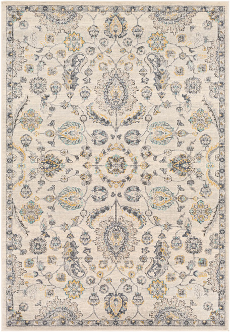 7.8' x 10.25' Gray and Beige Floral Rectangular Area Throw Rug - IMAGE 1