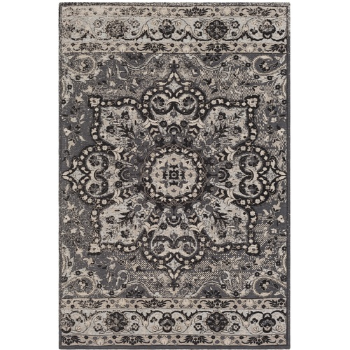 8' x 10' Mandala Gray and Ivory Rectangular Hand Woven Chenille-Polyester Area Throw Rug - IMAGE 1