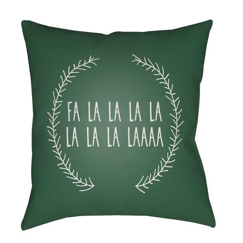 """20"""" Green and White """"Falalalala"""" Printed Square Throw Pillow Cover with Knife Edge - IMAGE 1"""