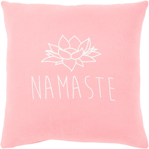 "18"" Pink and White ""Namaste"" Printed Square Throw Pillow - Down Filler - IMAGE 1"
