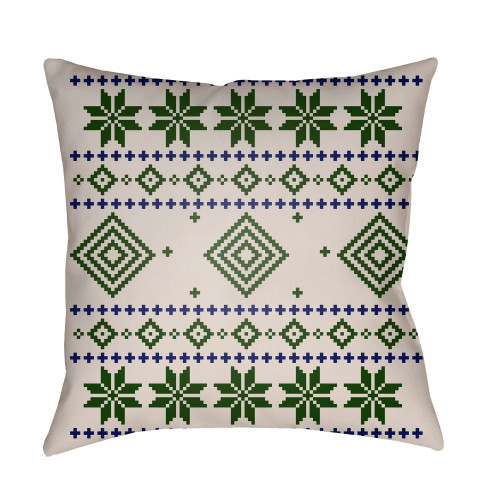 """20"""" White and Green Digitally Printed Square Throw Pillow Cover - IMAGE 1"""
