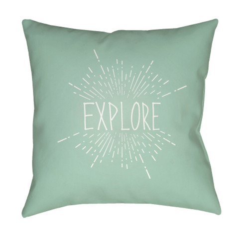 """20"""" Pale Green and White Explore Printed Square Throw Pillow Cover - IMAGE 1"""