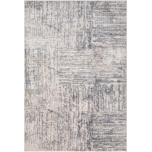 """6'7"""" x 9'6"""" Black and Ivory Distressed Abstract Design Rectangular Machine Woven Area Rug - IMAGE 1"""