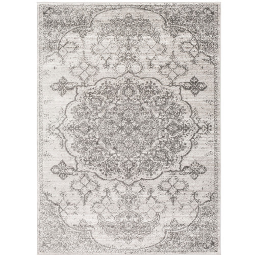 """6'7"""" x 9' Mandala Floral Patterned Gray and White Rectangular Area Throw Rug - IMAGE 1"""