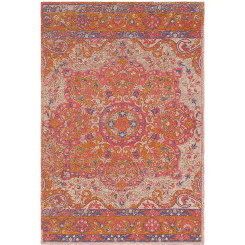 8' x 10' Mandala Orange and Pink Rectangular Hand Woven Chenille-Polyester Area Throw Rug - IMAGE 1